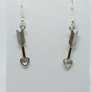 Silver heart arrow love earrings